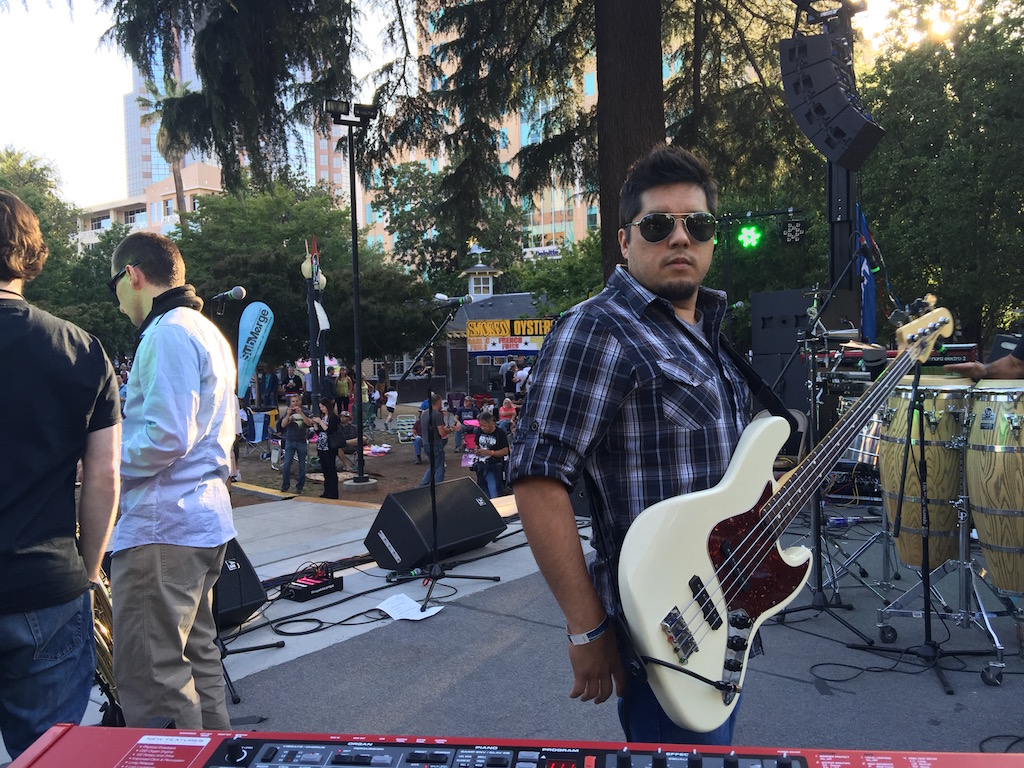 Cesar on stage Cesar Chevaz Park, May 2015